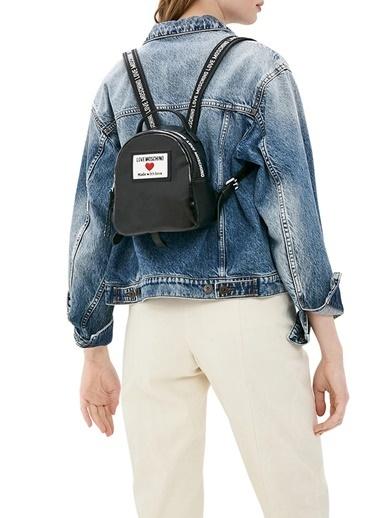 Love Moschino   Marka Logolu Ayarlanabilir Omuz Askılı Sırt Çanta Kadın Çanta Jc4032Pp1Clc100A Siyah